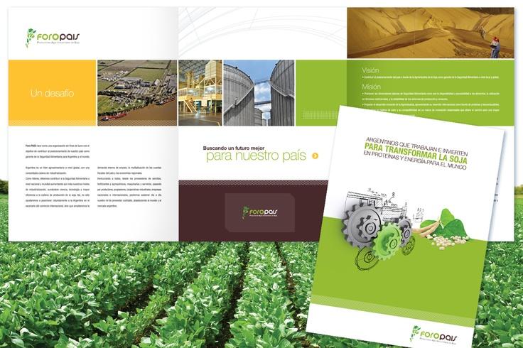 Desarrollamos la imagen de marca de ForoPAIS, una nueva organización de la  agroindustria, cuyo diseño basamos en la transmisión de su carácter federal y la industrialización de la cadena de soja.