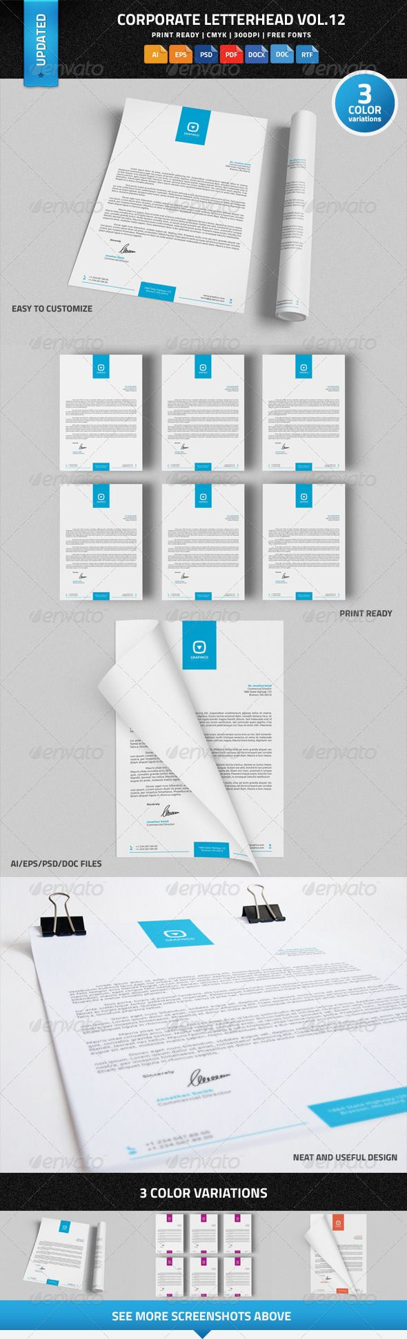 Print page color word 2010 - Corporate Letterhead Vol 12 With Ms Word Doc Docx