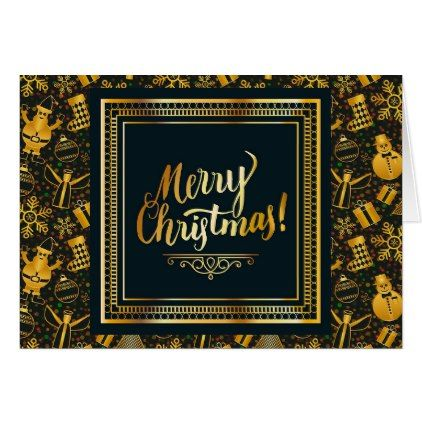 Merry Christmas Black and Gold Personalised Card - christmas cards merry xmas diy cyo greetings