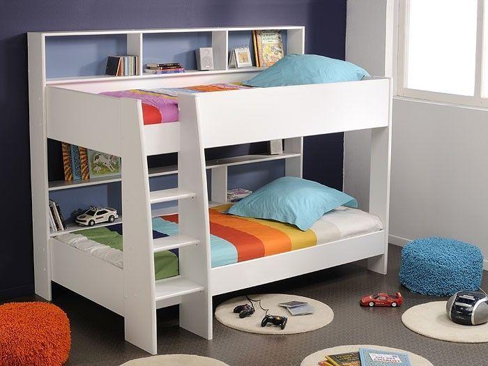 Etagenbett Tamina 1, 209x165x132cm, weiß / pink / blau, Hochbett Stockbett Bett