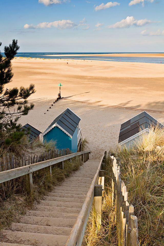 The Beach in Wells, England is a great place to go on sunny days. When the tide goes out, the sand stretches for a seemingly endless distance.