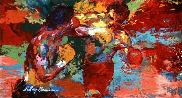 LeRoy Neiman Rocky vs Apollo Sports painting, Canvas