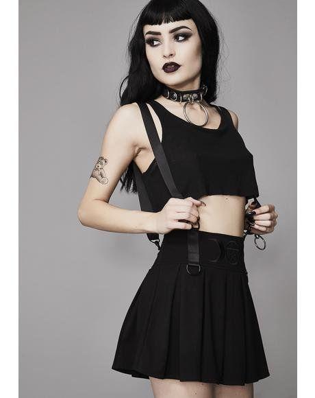 Menacing Magic Pleated Skirt  dollskill  gothic  traditional  mercy  widow   pleated  skirt  black  straps  4f4e0e719307