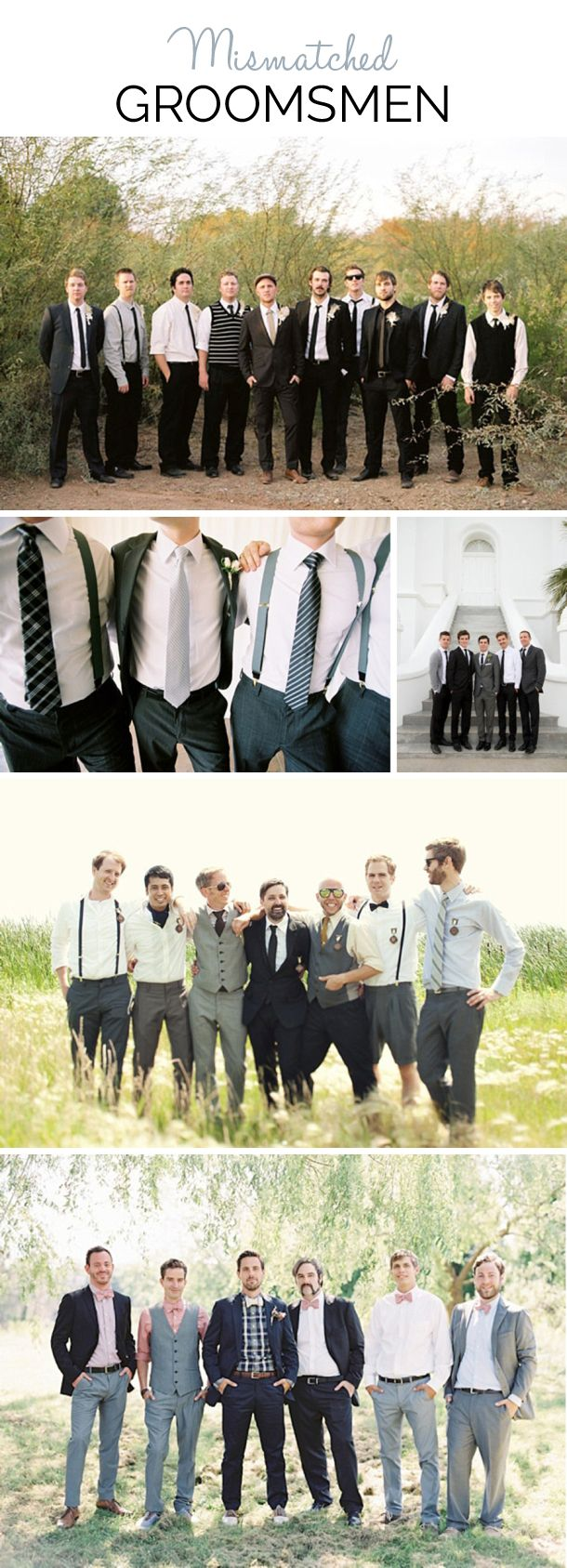 Mismatched Groomsmen | SouthBound Bride | http://www.southboundbride.com/mismatched-groomsmen | Credits:  Ben Christensen via Green Wedding Shoes // Jose Villa via Green Wedding Shoes // Kate Osborne via Snippet & Ink // kamp photography via LaBelle Bride // Jessica Lorren via Once Wed