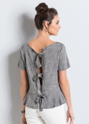 6c87cb815 Blusa de Linho com Babado Azul Colcci - Colcci | blusa algodão ...