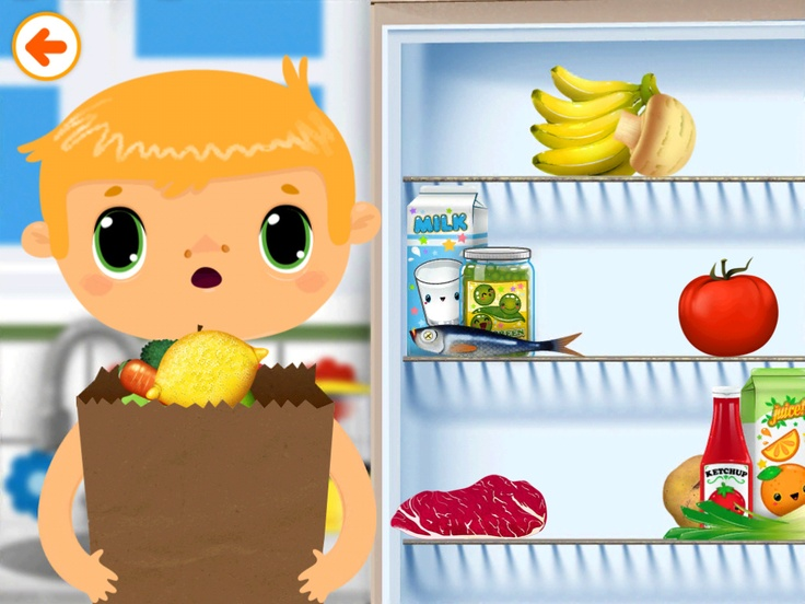 Storing groceries in the fridge in Toca House by Toca Boca. http://itunes.apple.com/us/app/toca-house/id495680460?mt=8 #apps #kids #children #ipad #iphone #tocaboca #tocahouse