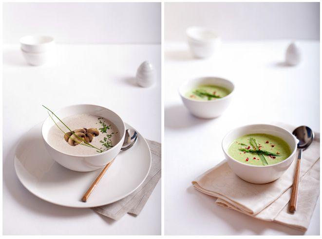 Норвежский крем-суп из шампиньонов с козьим сыром и Суп из спаржи с пармезаном и базиликом