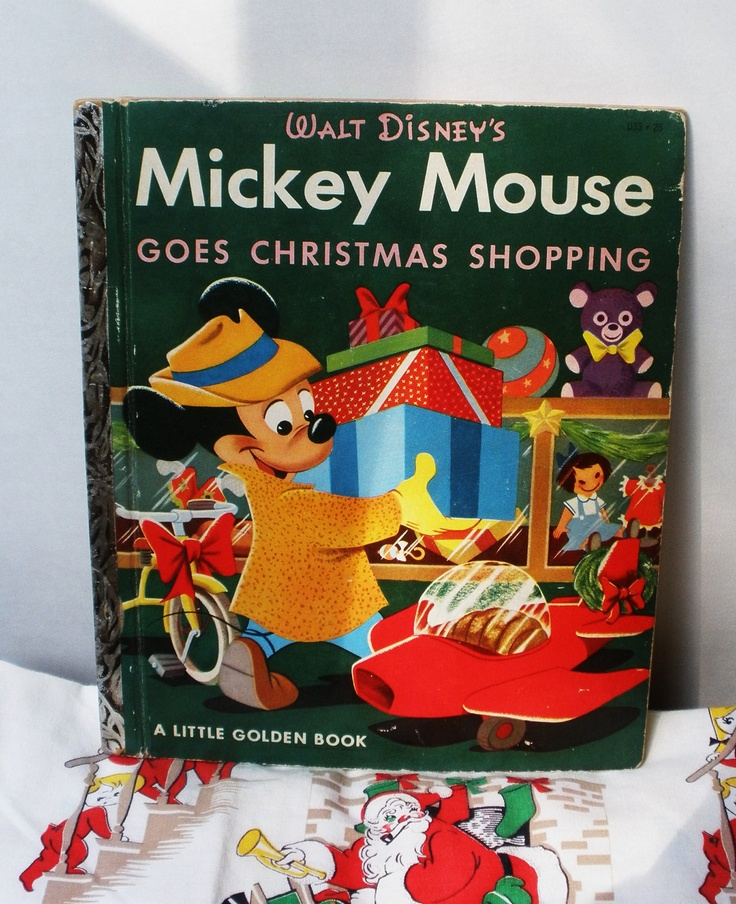 Vintage Little Golden Book . Mickey Mouse Goes Christmas Shopping . 1953 . 1st Print. $15.00, via Etsy.