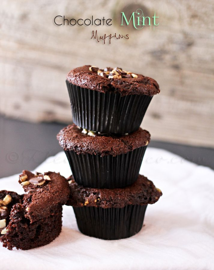 """Chocolate Mint Muffins - Because it says """"muffin,"""" that makes all this chocolate okay for breakfast, right? :-)"""