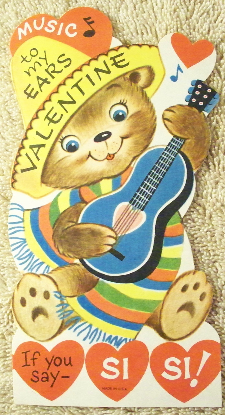 vintage valentines day card bear playing guitar music to