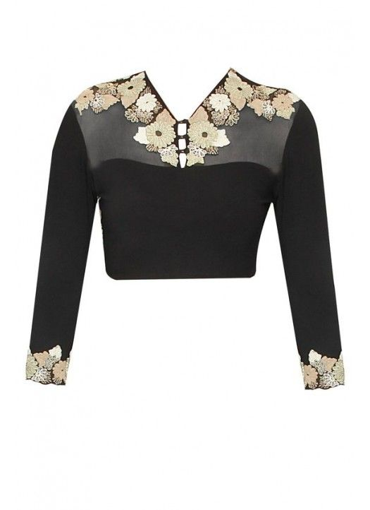 New Design Of Black Net Embroidered Blouse Material