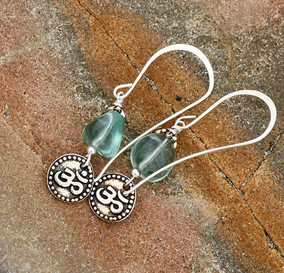 Om Yoga Earrings Green Flourite Silver Beaded by EarthlyBaubles, $18.00