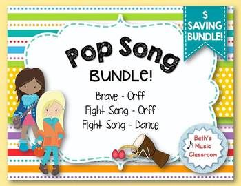 "Looking to include some pop songs in your music classroom or next concert? This great bundle will be enjoyed by all of your students! This Pop Song Bundle includes Sara Bareilles' popular hit, ""Brave,"" and Rachel Platten's ""Fight Song."" Students will absolutely love hearing a song that they know, and when you add dancing and playing instruments to it, even better!"