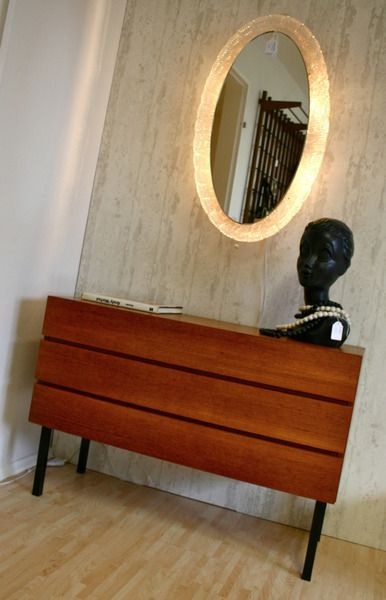 Wunderbarer beleuchteter Spiegel 70er von Retrosalon auf DaWanda.com
