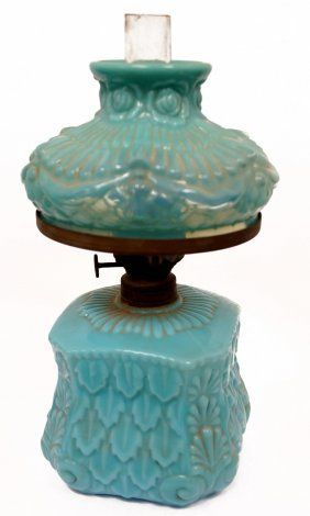 VICTORIAN MINIATURE BLUE OPALINE GLASS OIL LAMP WITH