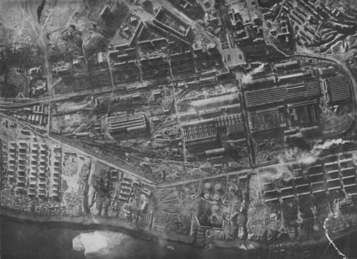 Аэрофотосъемка Сталинградского тракторного завода имени Дзержинского