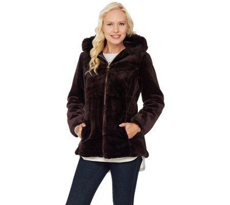 63.48$, A283650 - Susan Graver Faux Fur Zip Front Jacket with Trimmed Hood