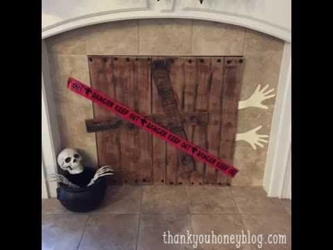 Video, DIY Spooky Halloween Fireplace Cover Video, Video, tutorial, via - Thank You Honey,  Crafts, Costumes ideas, Crafts, DIY, Recipes, Parties, Halloween Theme Parties, DIY, Spooky, Halloween, Fireplace Cover, DIY Halloween Decorations, Spooky, Decorate, DIY Spooky Halloween Fireplace Cover, Craft, Decorations, Decor,
