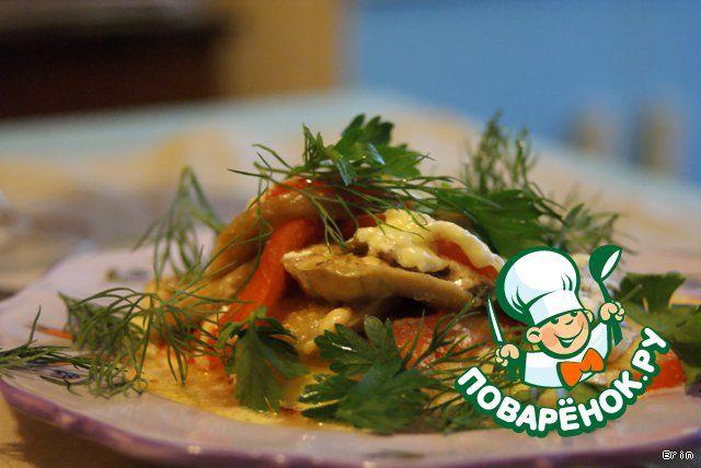 Баклажаны, запеченные с грибами и помидорами - кулинарный рецепт
