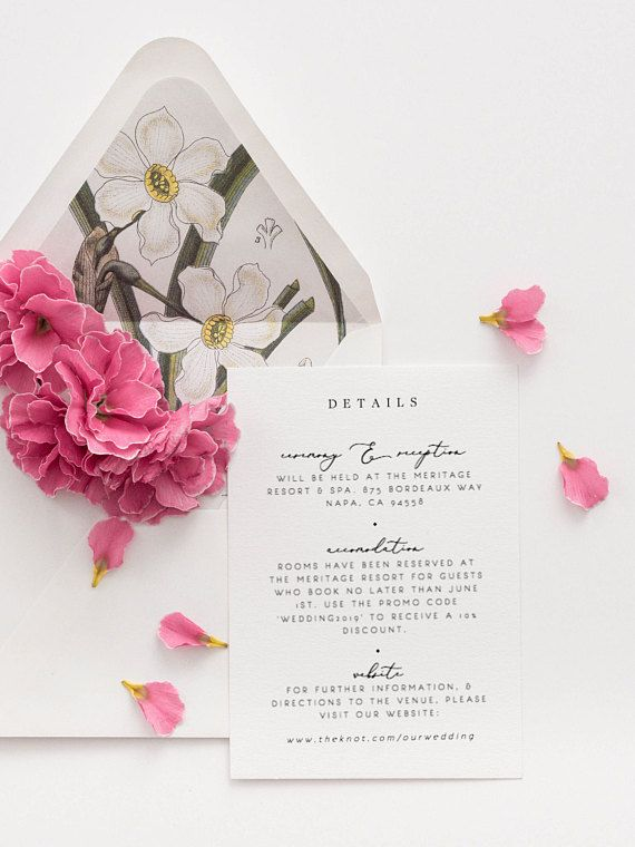 Wedding Details Card Template Elegant Classy