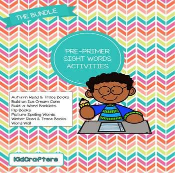 This package contains a collection of games to help preschoolers learn Dolch (sight) words. Included are: Autumn Read & Trace Books Build an Ice Cream Cone Build-a-Word Booklets Flip Books Picture Spelling Words Winter Read & Trace Books Word Wall Memory Game