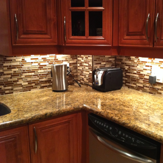 Our new backsplash installed in our kitchen.