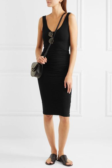 James Perse - Ruched Stretch-cotton Jersey Dress - Black - 2