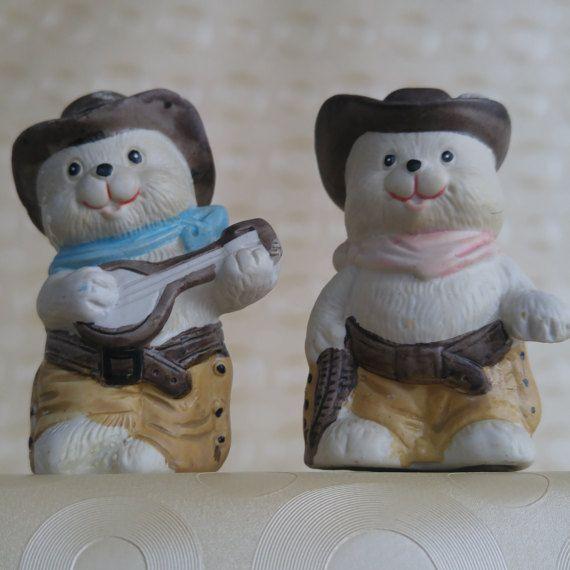 Vintage Salt and Pepper Shakers  Ceramic Cowboy Bears Heidi