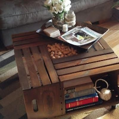 DIY Vintage Crate Coffee Table Coffee Table Decor - Would work for a kids play table and storage/baskets