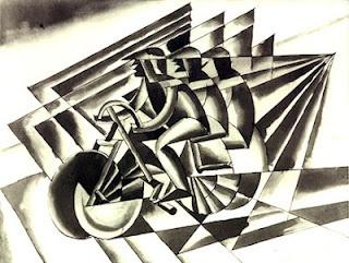 fortunato depero, cicilisti, 1923