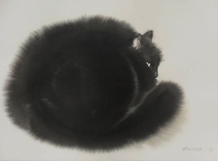 Serbian artist Endre Penovác renders fluffy felines with stark black watercolors and ink. Penovác heavily dilutes the pigments with water creating small rivers and splotches that perfectly mimic the texture of fur.