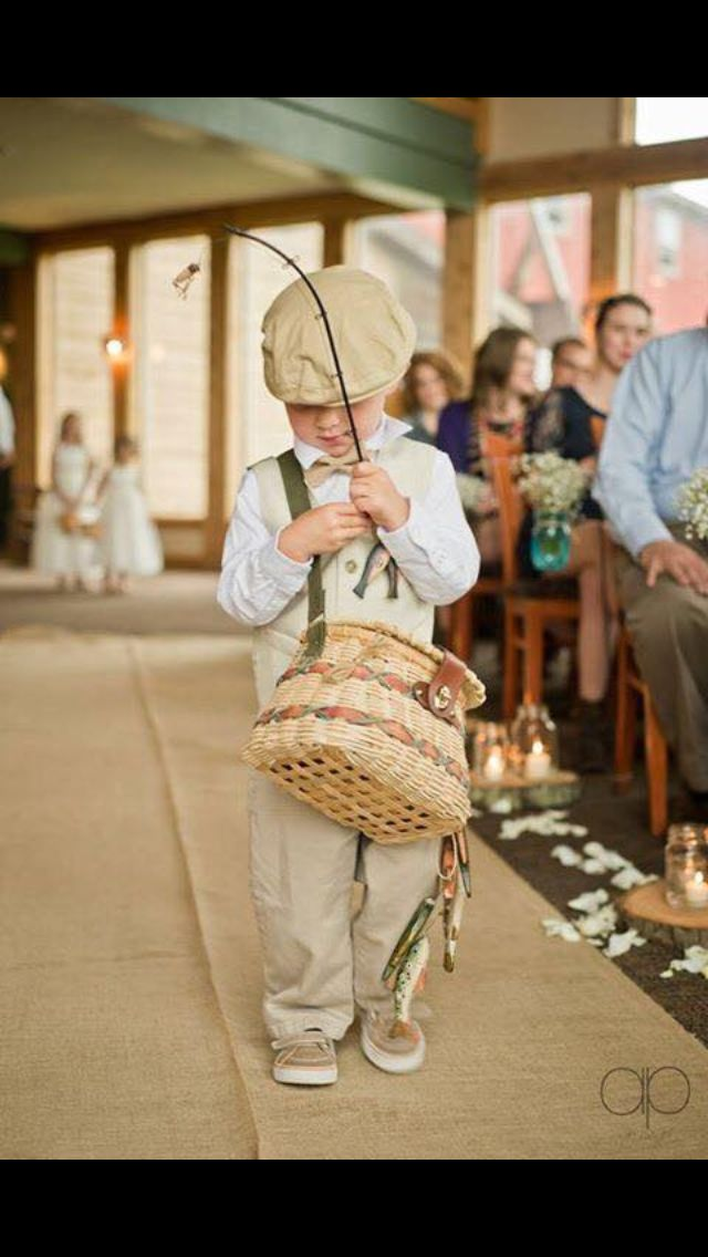 Ring bearer with fishing rod ! YES More