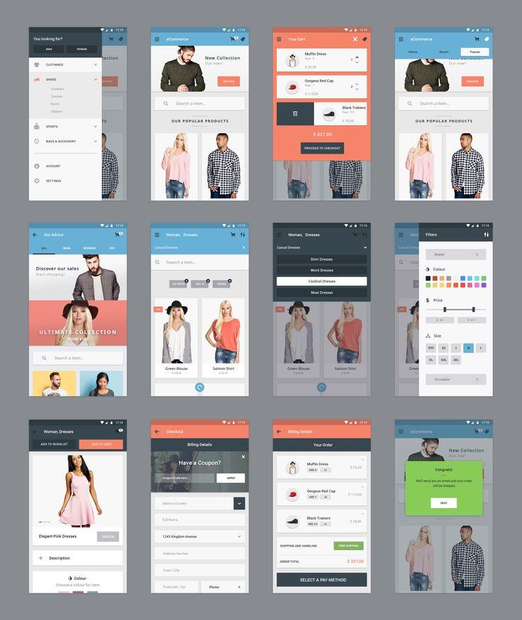 Material - eCommerce App (12 App Screens ) | TheFreebieBay.com