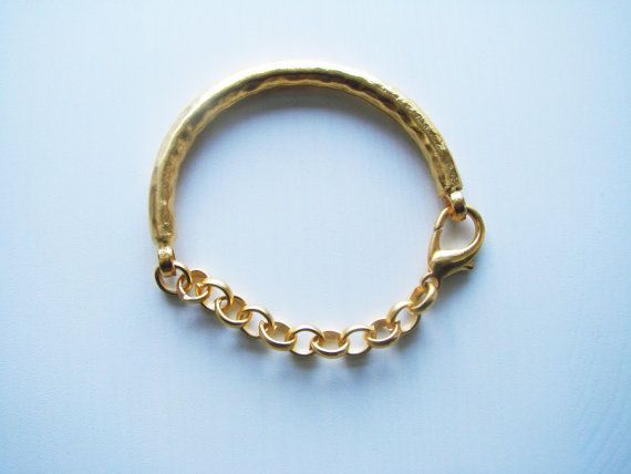 gold plated Bracelet Bar with chain and lobster by cityofcharms