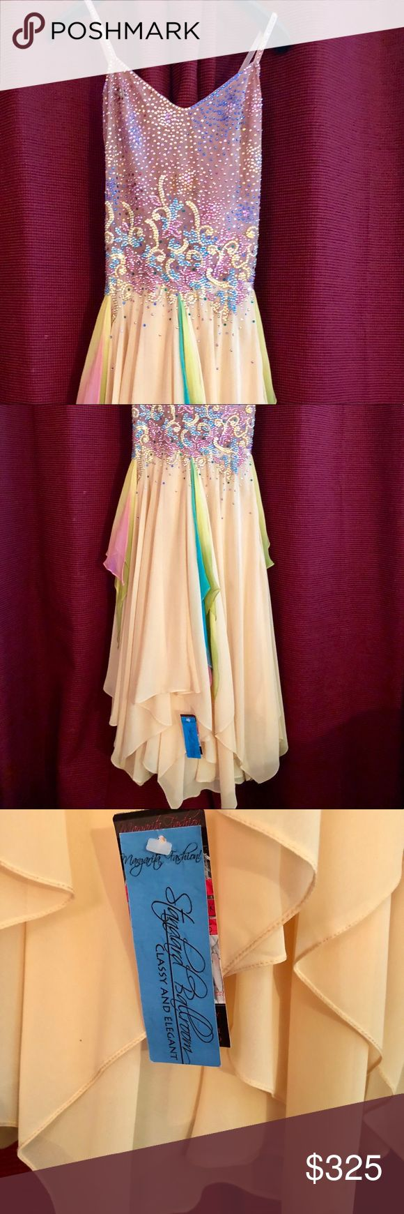 Just arrival New with tag ballroom dress to ankles This is one of a kind blast on evening dress yellow pink stunning sequence top spaghetti straps lined with a skin tone net bottom is beautiful layers of yellow and pink  please any question please ask Dresses Wedding