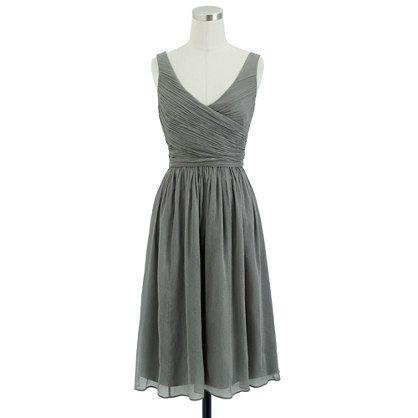 J.crew Tall Heidi Dress In Silk Chiffon in Gray (graphite)