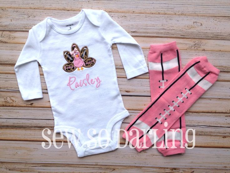 Turkey Football Baby Outfit  Baby Thanksgiving by SewSoDarling, $17.00