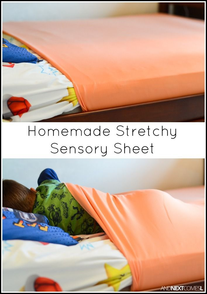 Tutorial for making homemade DIY stretchy lycra sensory sheets for kids with autism or sensory processing disorder from And Next Comes L
