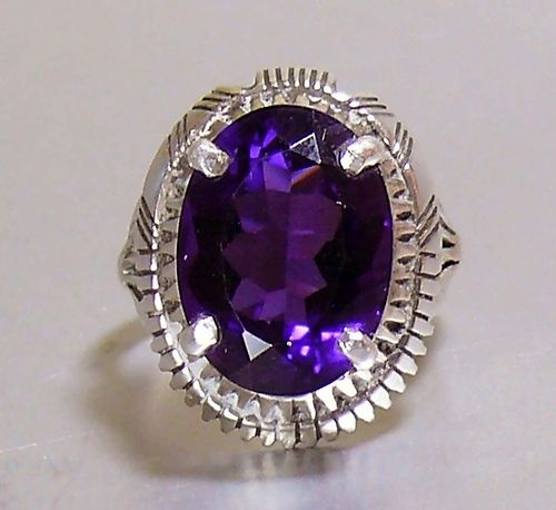 Exceptional Native American Navajo Amethyst Sterling Silver Ring Sz 7 Signed