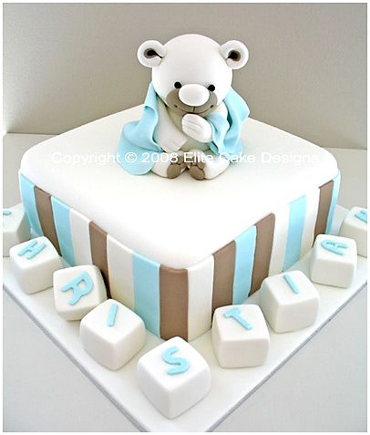 CH 122 Teddy with Blanket Christening Cake Christening cake design featuring a very cute hand sugarcrafted teddy that you can keep as a keepsake for many years! Servings 72 coffee or 30 dessert Price $360 Price based on 5 letter name cubes. Each extra letter cube at 7.00.