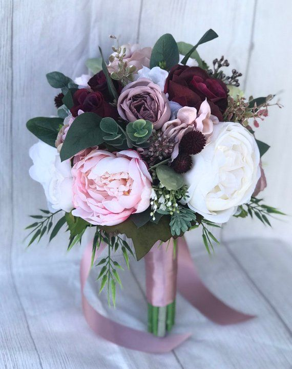 Dusty Rose Bouquet Blush And Dusty Pink Bouquet Mauve And Etsy In 2020 Pink Bouquet Rose Bouquet Burgundy Bouquet