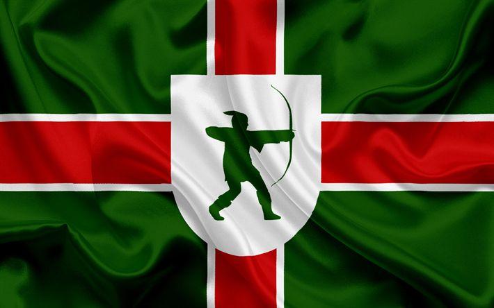 Scarica sfondi Contea di Nottinghamshire, Bandiera, Inghilterra, bandiere delle contee inglesi, Bandiera del Novara, British Contea di Bandiere, di seta, bandiera, Nottinghamshire