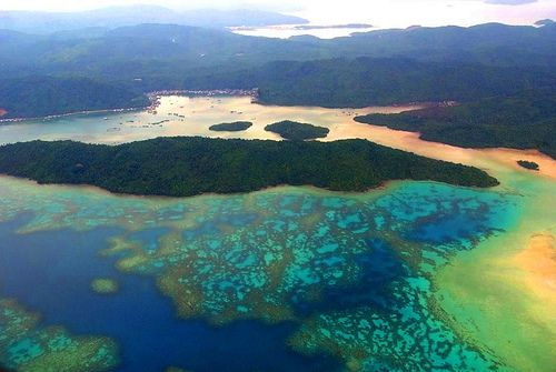 The turquoise color of shallow water in Anambas district of Natuna Islands, Indonesia... A paradise for boating & snorkling.