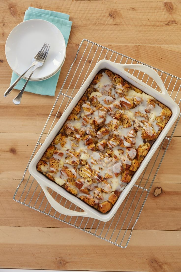 Overnight Breakfast Bake - Assemble this cinnamon roll casserole the night before so it's ready to bake in the morning. It's easy to make and so tasty!