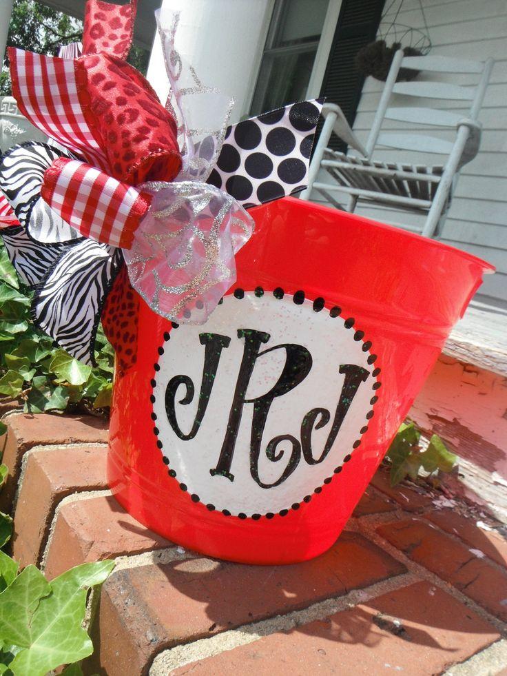 monogrammed hand painted bucket.....wine bucket, gift basket, teacher gift,  great graduation gift,  wedding or bridal gifts .... , via Etsy.