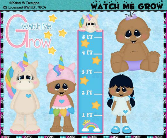 Watch Me Grow Baby Growth Chart Girl AA  Instant by CapZone