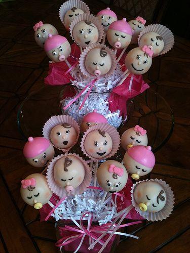 Tickled pink baby girl cake pops. https://www.facebook.com/Kimssweetkarma