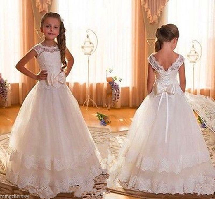 White Ivory Girl First Communion Dresses Kids Party Prom Princess Pageant Bridesmaid Dress Wedding Flower With Bows