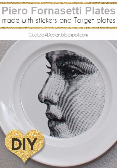 DIY Piero Fornasetti Plates with stickers and Target plates