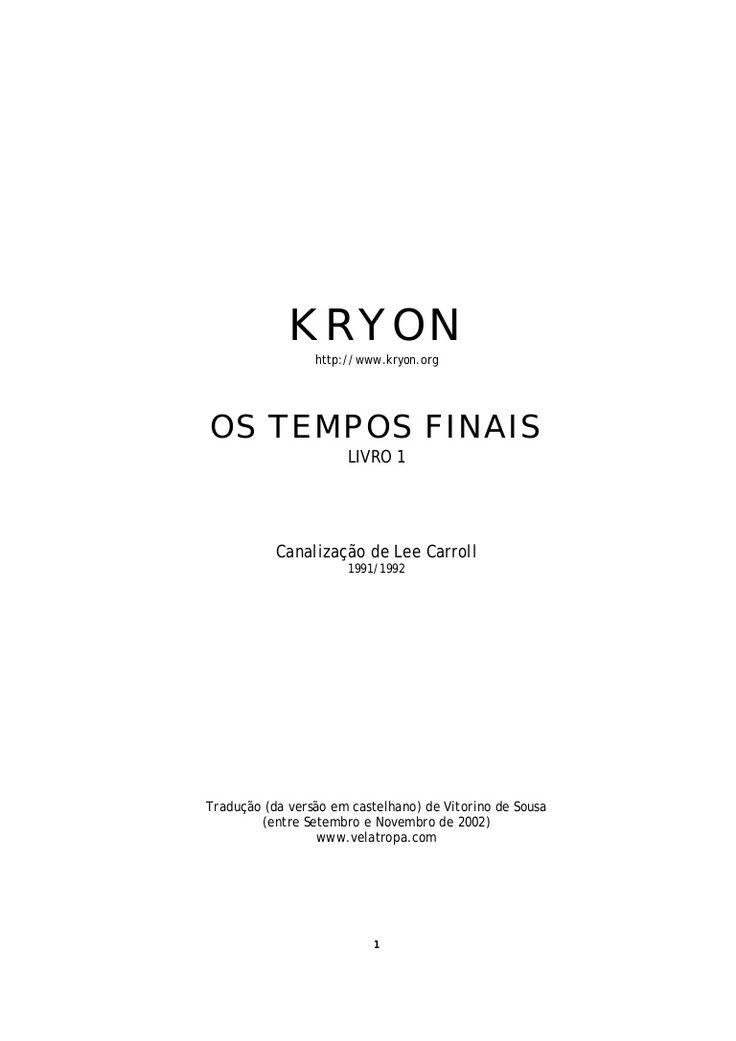 Os Tempos Finais Kryon Livro I